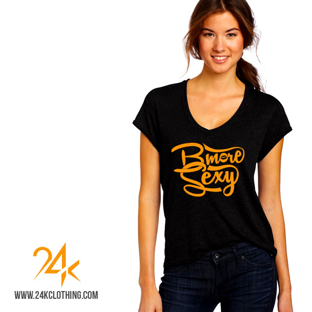 Black and orange vneck tshirt